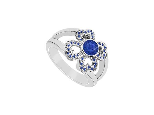 Blue Sapphire Ring  14K White Gold - 0.50 CT TGW
