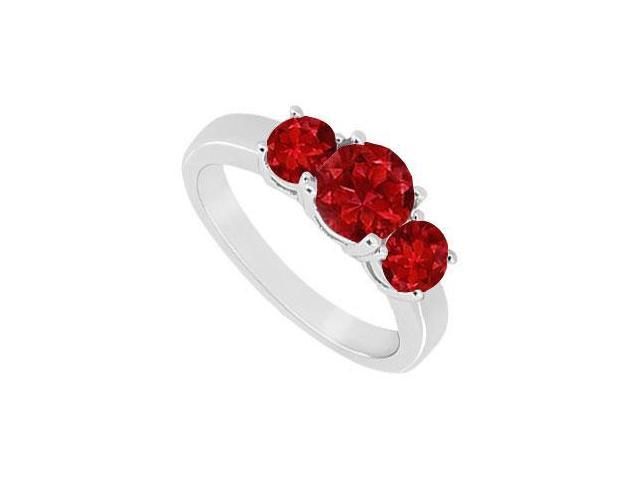 10K White Gold GF Bangkok Ruby Three Stone Ring 1.00 CT TGW