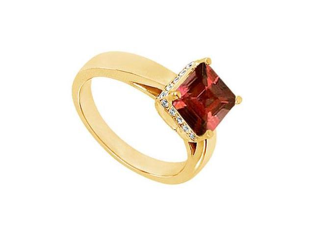 Garnet and Diamond Ring  14K Yellow Gold - 0.83 CT TGW