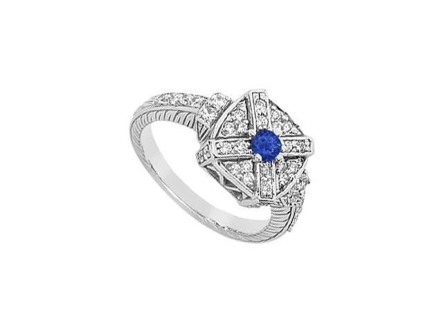 Blue Sapphire and Diamond Ring  14K White Gold - 0.75 CT TGW