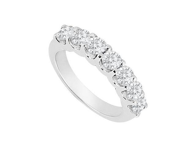 14K White Gold  Round Prong-Set Diamond Wedding Band 0.35 CT TDW
