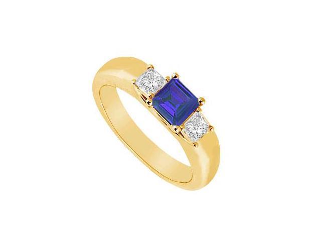 Three Stone Sapphire and Diamond Ring  14K Yellow Gold - 0.25 CT TGW