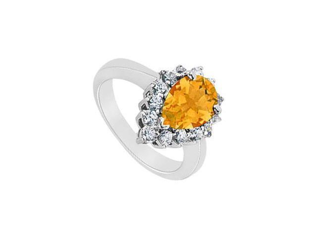 Citrine and Diamond Ring  14K White Gold - 1.50 CT TGW
