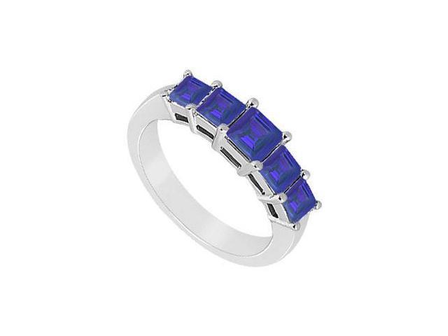 Blue Sapphire Wedding Band  14K White Gold - 1..00 CT TGW