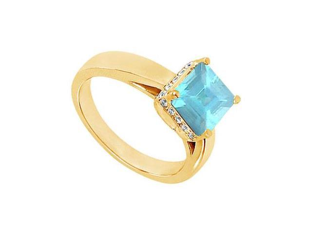 Aquamarine and Diamond Ring  14K Yellow Gold - 1.00 CT TGW