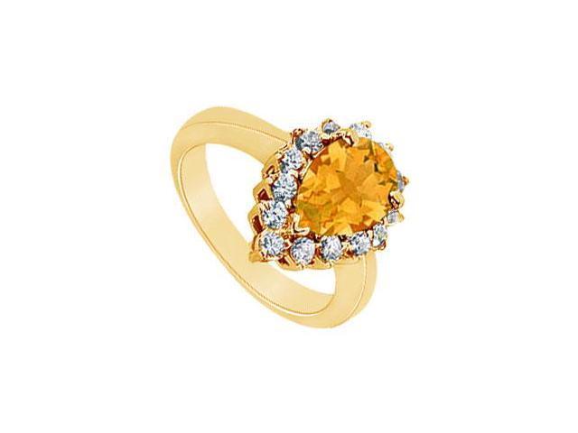 Citrine and Diamond Ring  14K Yellow Gold - 1.50 CT TGW