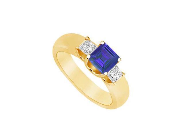 Three Stone Sapphire and Diamond Ring  14K Yellow Gold - 0.75 CT TGW