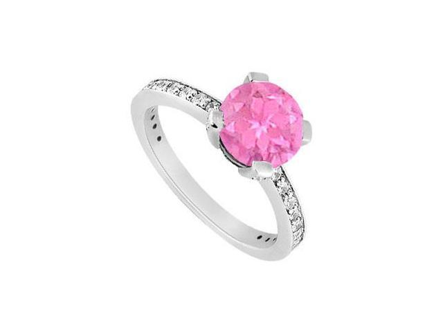 10K White Gold Created Pink Sapphire and Cubic Zirconia Engagement Ring 1.00 CT TGW