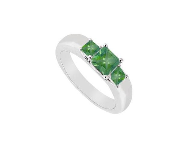 Three Stone Emerald Ring  14K White Gold - 0.25 CT TGW
