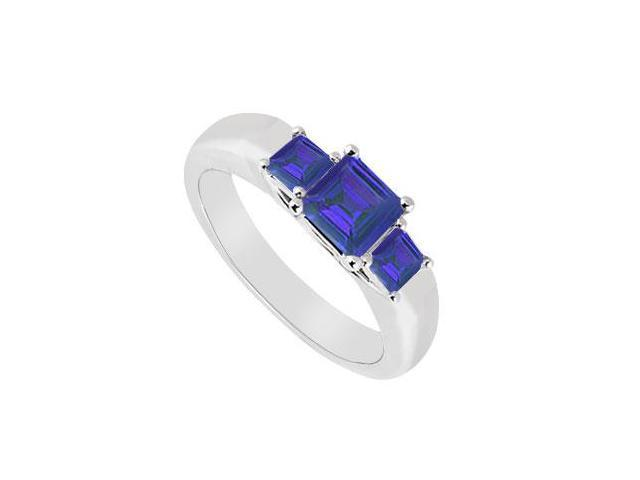 Three Stone Sapphire Ring  14K White Gold - 0.33 CT TGW