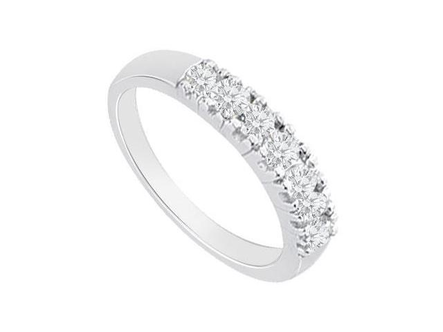 14K White Gold  Round Prong-Set Diamond Wedding Band 0.50 CT TDW