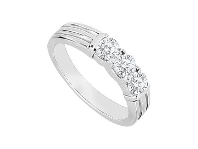 14K White Gold  Three Stone Diamond Wedding Band 0.35 CT TDW