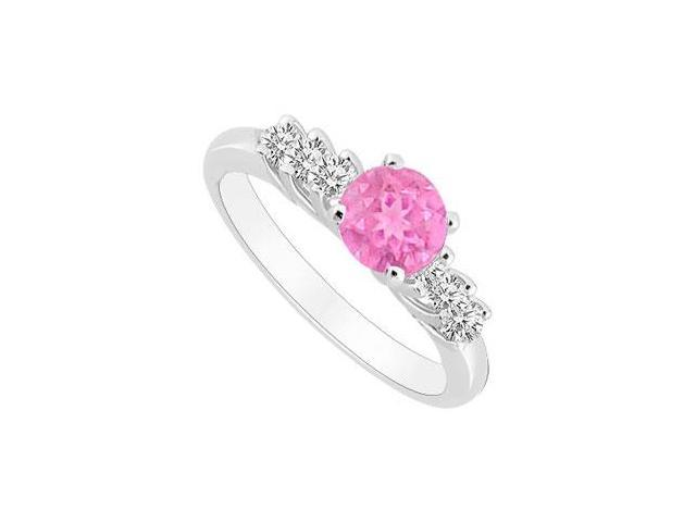 10K White Gold Created Pink Sapphire and Cubic Zirconia Engagement Ring 0.50 CT TGW