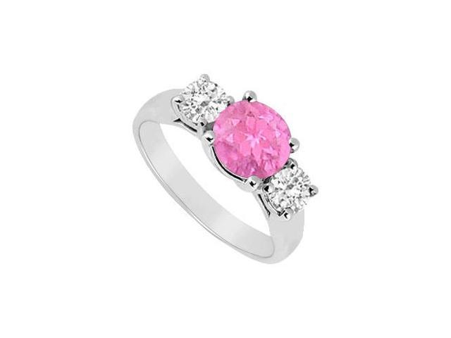 10K White Gold Created Pink Sapphire and Cubic Zirconia Three Stone Ring 1.25 CT TGW