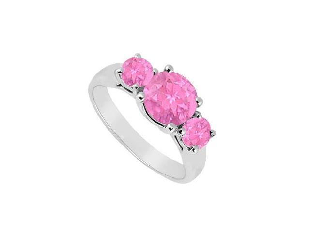 10K White Gold Created Pink Sapphire Three Stone Ring 1.25 CT TGW