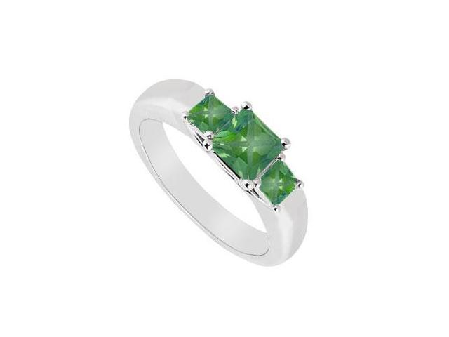 Three Stone Emerald Ring  14K White Gold - 0.33 CT TGW