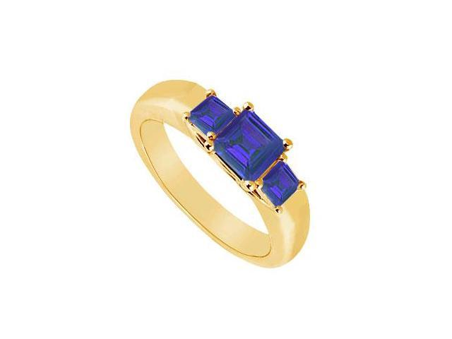Three Stone Sapphire Ring  14K Yellow Gold - 0.33 CT TGW