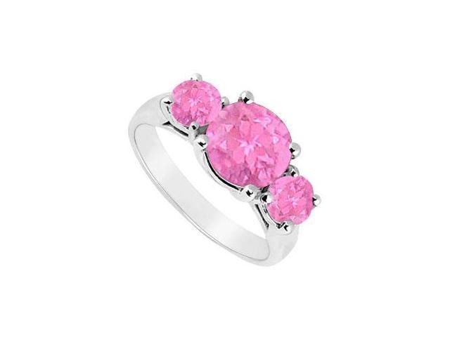 10K White Gold Created Pink Sapphire Three Stone Ring 2.50 CT TGW