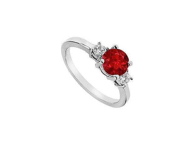 Three Stone Created Ruby and CZ Engagement Ring in 14kt White Gold 1.25.ct.tgw