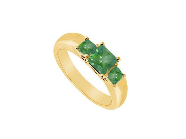 Three Stone Emerald Ring  14K Yellow Gold - 0.33 CT TGW