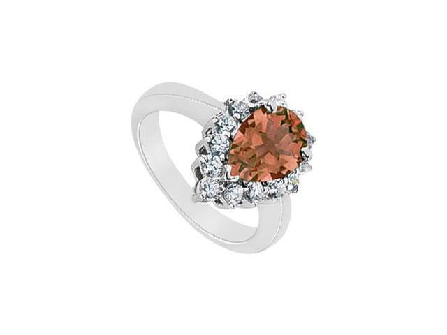 Smoky Topaz and Diamond Ring  14K White Gold - 1.50 CT TGW
