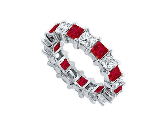 Diamond and Ruby Eternity Band  14K White Gold   5.00 CT TGW