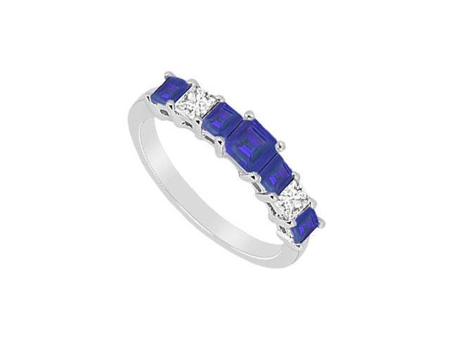 Sapphire and Diamond Wedding Band  14K White Gold - 2.50 CT TGW