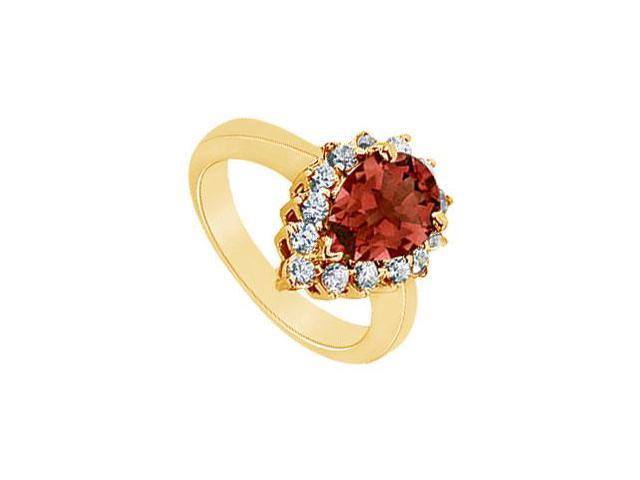 Garnet and Diamond Ring  14K Yellow Gold - 1.50 CT TGW