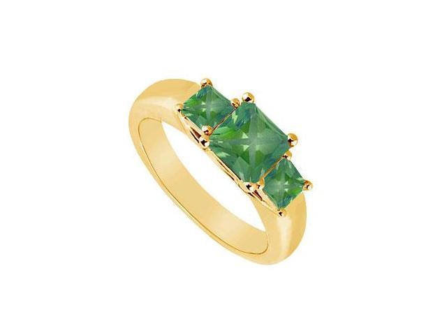 Three Stone Emerald Ring  14K Yellow Gold - 0.50 CT TGW