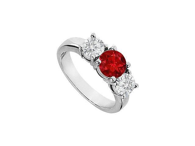 Four Prong Set Three Stone Created Ruby and CZ Engagement Ring 14K White Gold 2.00.ct.tgw