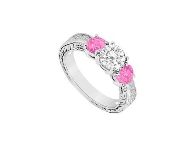 Three Stone Pink Sapphire and Diamond Ring  14K White Gold - 0.75 CT TGW
