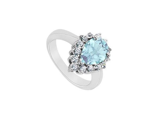 Aquamarine and Diamond Ring  14K White Gold - 1.29 CT TGW