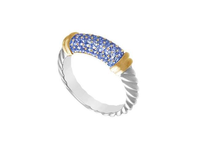 Sapphire Twisted Ring 14K White Gold with Yellow Gold Vermeil 1.25 Carat Total Gem Weight