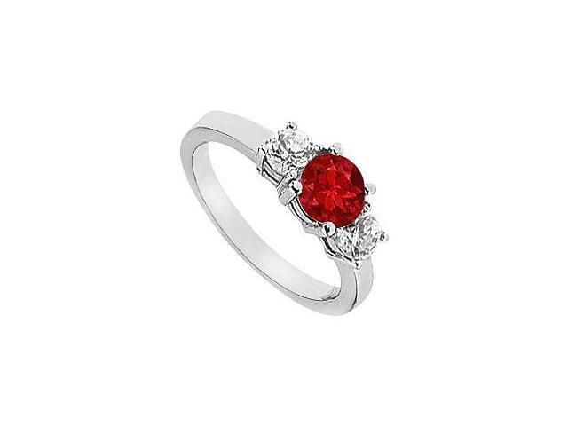 Created Ruby Engagement Ring with Two Stone Cluster CZ in 14K White Gold 1.50.ct.tgw