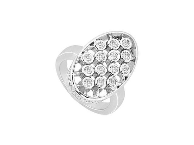Diamond Oval Ring  14K White Gold - 0.50 CT Diamonds