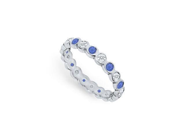Diamond and Blue Sapphire Eternity Band  Platinum  1.00 CT TGW