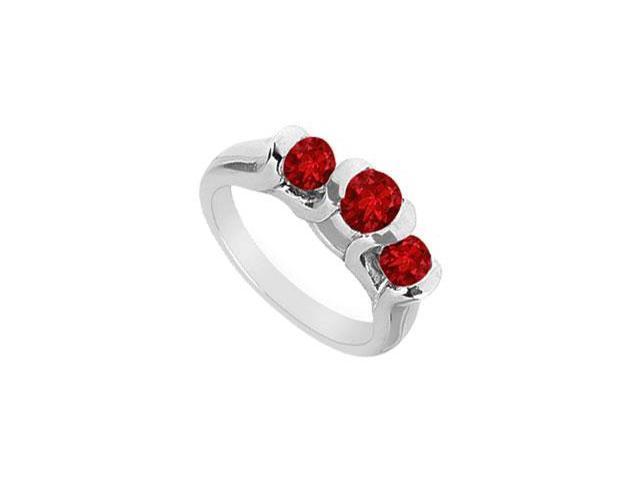 Three Stone Ruby Ring  14K White Gold - 1.00 CT TGW