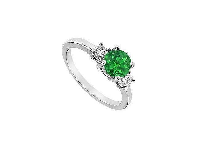 Three Stone Created Emerald and CZ Engagement Ring in 14kt White Gold 1.25.ct.tgw