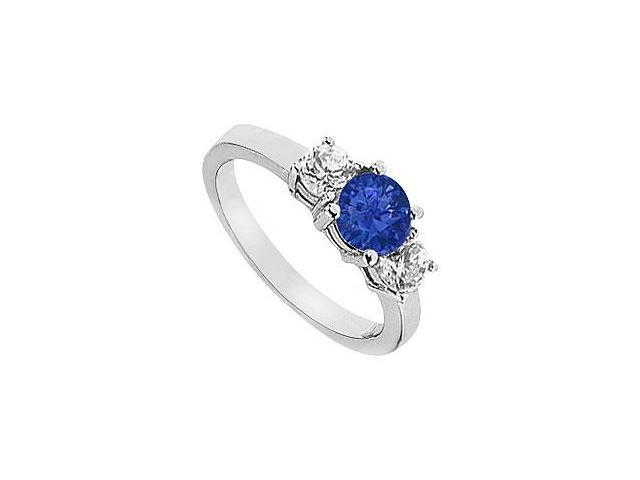 Created Sapphire Engagement Ring with Two Stone Cluster CZ in 14K White Gold 1.50.ct.tgw