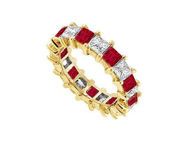 Diamond and Ruby Eternity Band  14K Yellow Gold   4.00 CT TGW