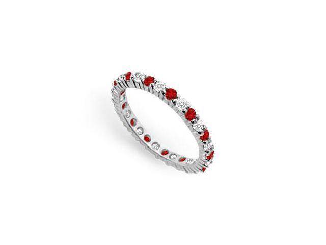 Diamond and Ruby Eternity Band  14K White Gold   1.00 CT TGW
