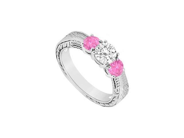 Three Stone Pink Sapphire and Diamond Ring  14K White Gold - 0.33 CT TGW