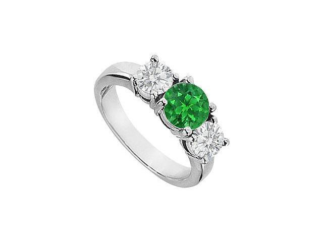 Four Prong Set Three Stone Created Emerald and CZ Engagement Ring 14K White Gold 2.00.ct.tgw