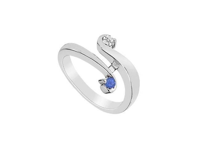 Blue Sapphire and Diamond Ring  14K White Gold - 0.20 CT TGW