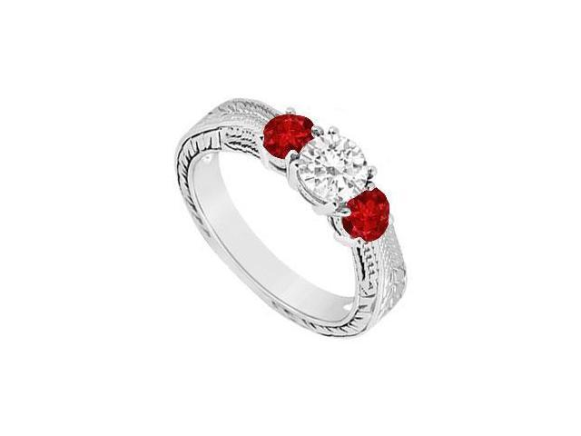 Three Stone Ruby and Diamond Ring  14K White Gold - 0.33 CT TGW