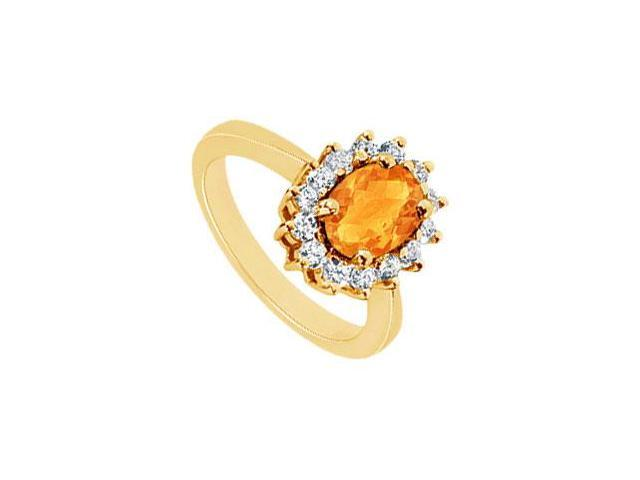 Citrine and Diamond Ring  14K Yellow Gold - 1.50 CT TGW