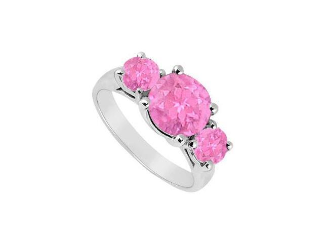 Created Pink Sapphire Three Stone Ring 10K White Gold 3.00 CT TGW