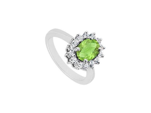 Peridot and Diamond Ring  14K White Gold - 1.50 CT TGW