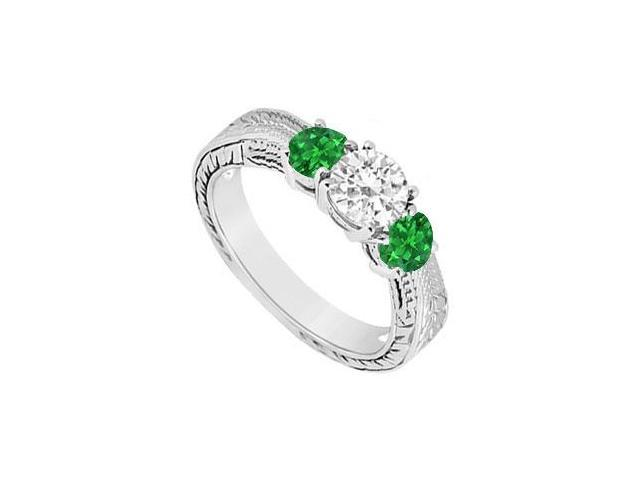 10K White Gold Frosted Emerald and Cubic Zirconia Three Stone Ring 0.50 CT TGW