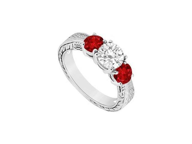 Three Stone Ruby and Diamond Ring  14K White Gold - 1.00 CT TGW